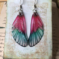 Translucent Pink and Green Fairy Wing Sterling Silver Earrings