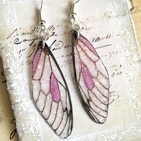 Pink Sparkling Fairy Wing Sterling Silver Earrings