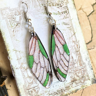 Sparkling Green Fairy Wing Sterling Silver Earrings