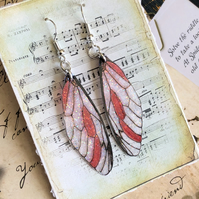 Sparkling Red Fairy Wing Sterling Silver Earrings