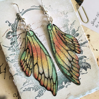 Orange and Green Sparkling Double Fairy Wing Earrings Sterling Silver