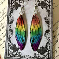 Rainbow Fairy Wing Sterling Silver Earrings