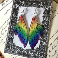 Sparkling Rainbow Double Fairy Wing Earrings Sterling Silver