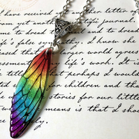 Rainbow Fairy Wing Necklace