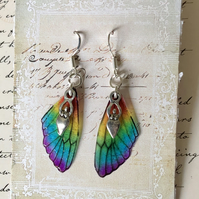 Dainty Goddess Rainbow Fairy Wing Sterling Silver Earrings
