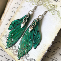 Dark Green Sparkling Double Fairy Wing Goddess Earrings Sterling Silver