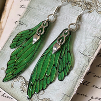 Sparkling Green Goddess Double Fairy Wing Earrings Sterling Silver