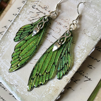 Bright Green Goddess Double Fairy Wing Earrings Sterling Silver