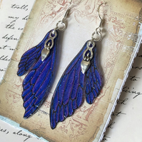 Purple Goddess Double Fairy Wing Earrings Sterling Silver