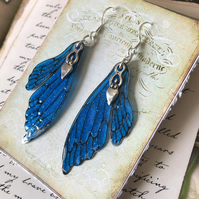 Blue Goddess Double Fairy Wing Earrings Sterling Silver