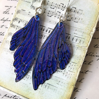 Purple Double Fairy Wing Earrings Sterling Silver