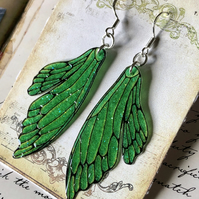 Sparkling Bright Green Double Fairy Wing Earrings Sterling Silver