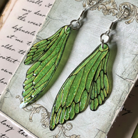 Leaf Green Double Fairy Wing Earrings Sterling Silver