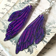 Pink and Purple Double Fairy Wing Earrings Sterling Silver