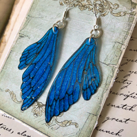 Sparkling Blue Double Fairy Wing Earrings Sterling Silver