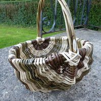 Willow Wicker Basket - Striped Black and White, Gardening
