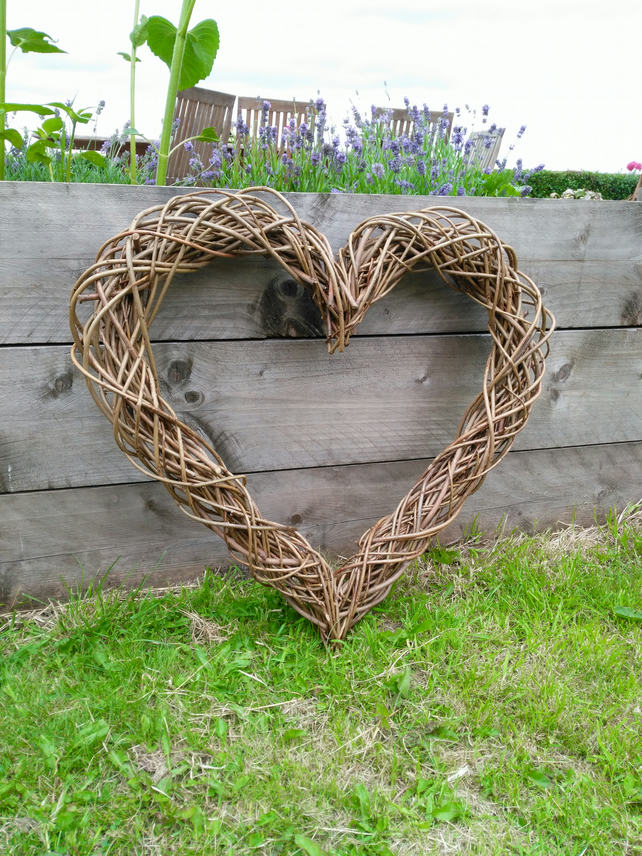 Large Willow Heart Handwoven Natural Rustic Wal Folksy