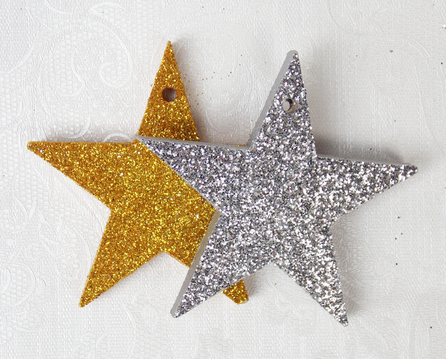 Wooden star decorations with glitter pack of folksy
