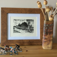 Cornish Pave´ - Cycling in Cornwall lino print
