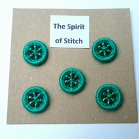 15mm handmade beaded dorset buttons green (pack of 5)