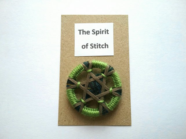 Large single handmade button celtic green brown multicoloured