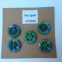 20mm handmade dorset buttons green blue (pack of 5)