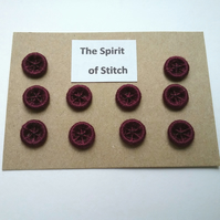 11mm handmade burgundy dorset buttons ( pack of 10 )