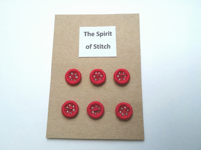 11mm handmade red dorset buttons (pack of 6)