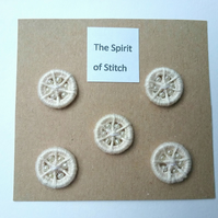 15mm handmade cream beaded dorset buttons