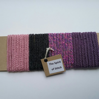 Lucet cord pink purple grey ( 4 x 1m lengths)