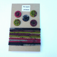 Pack of 5 dorset buttons with matching lucet cord pink purple green blue grey