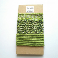 Handmade braid colour co-ordinated in green and cream ( 3 x 1m lengths)