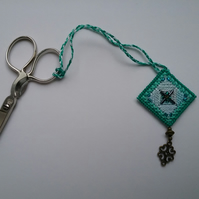 Handmade embroidered scissor fob green aqua beaded