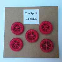 20mm handmade  dorset buttons pink red (pack of 5)