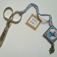 Hand embroidered beaded scissor fob
