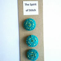 Felt hand embroidered buttons turquoise yellow green