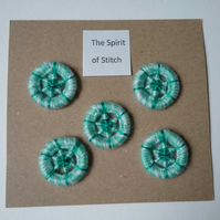 20mm handmade dorset buttons green white aqua (pack of 5)