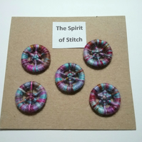 20mm handmade dorset buttons blue pink purple brown (pack of 5)