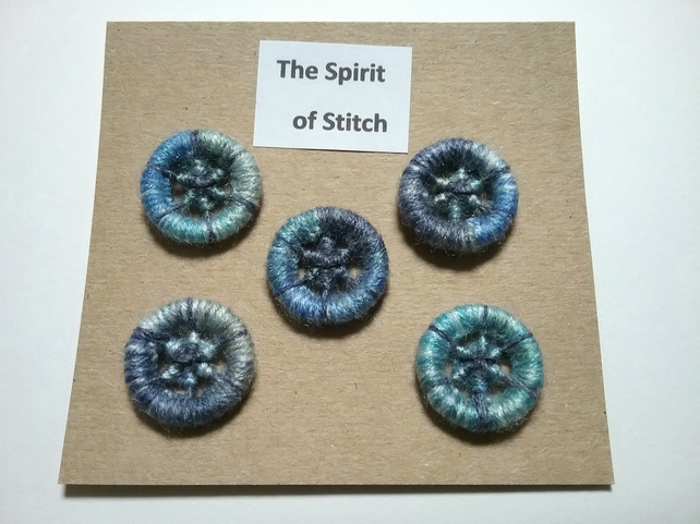 20mm handmade dorset buttons blue grey (pack of 5)