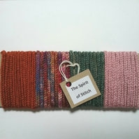 Handmade lucet cord pink green rust (pack of 4 x 1m lengths)
