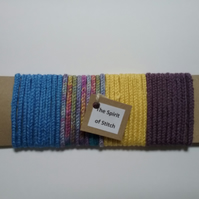 Handmade lucet cord mauve blue yellow (pack of 4 x 1m lengths)