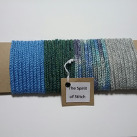 Handmade lucet cord blue grey green (pack of 4 x 1m lengths)