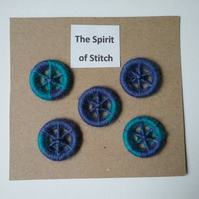 20mm handmade dorset buttons blue purple (pack of 5)