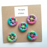 20mm handmade multicoloured dorset buttons (pack of 5)