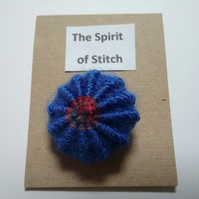 Large single Yorkshire button in royal blue and red