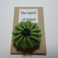 Large single Yorkshire button in green