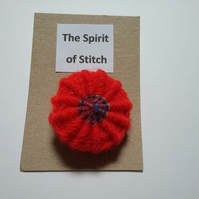 Large single Yorkshire button in  red with a variegated centre