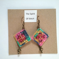 Hand embroidered beaded earings pink blue aqua yellow