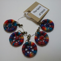 Dorset button stitch markers blue red yellow bronze