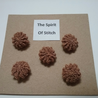Handmade yorkshire buttons brown (pack of 5)
